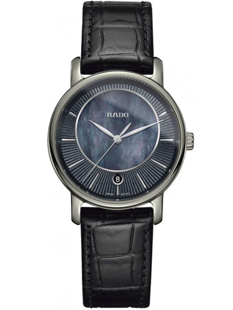 Rado Ladies DiaMaster Quartz Black Leather Strap Watch