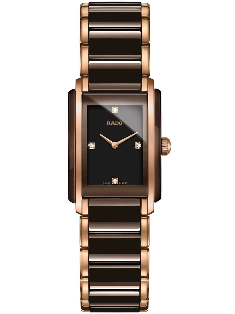 Rado Ladies Integral Diamonds Quartz Brown and Rose Ceramic Bracelet Watch