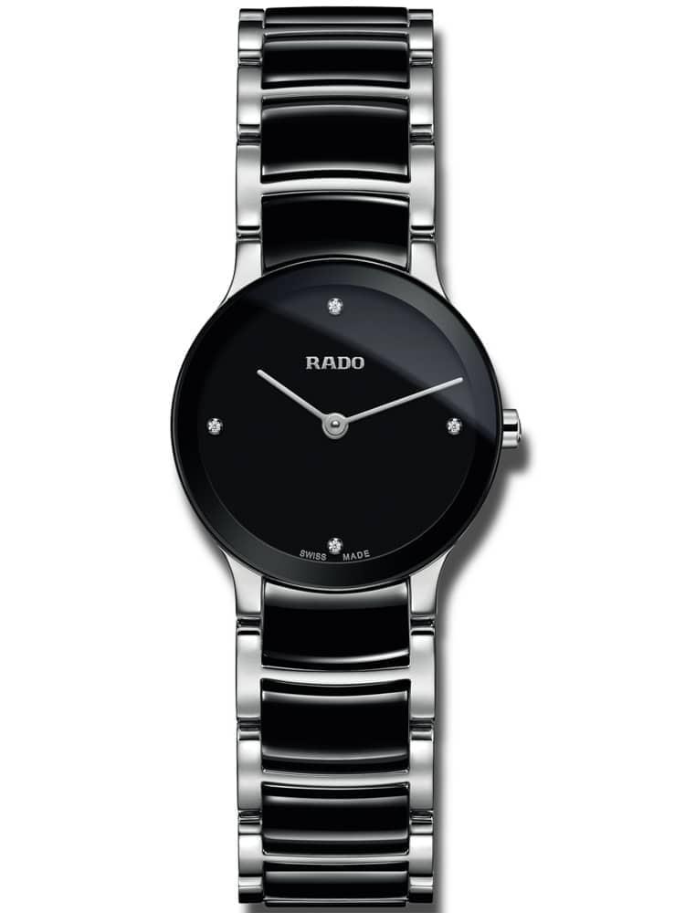 Rado Ladies Centrix Diamonds Quartz Black and Silver Ceramic Bracelet Watch
