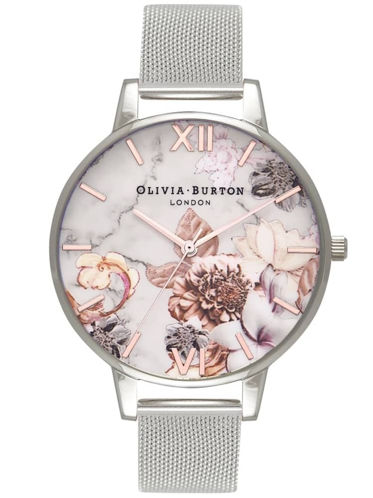 Olivia Burton Marble Florals Rose Gold And Silver Mesh Bracelet Watch