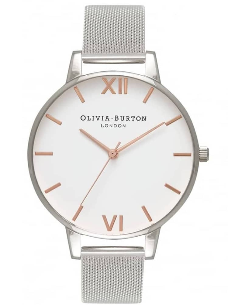 Olivia Burton White Dial Rose Gold And Silver Mesh Bracelet Watch