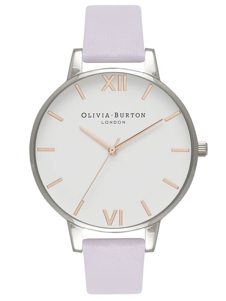 Olivia Burton White Dial Stainless Steel Parma Violet Leather Strap Watch