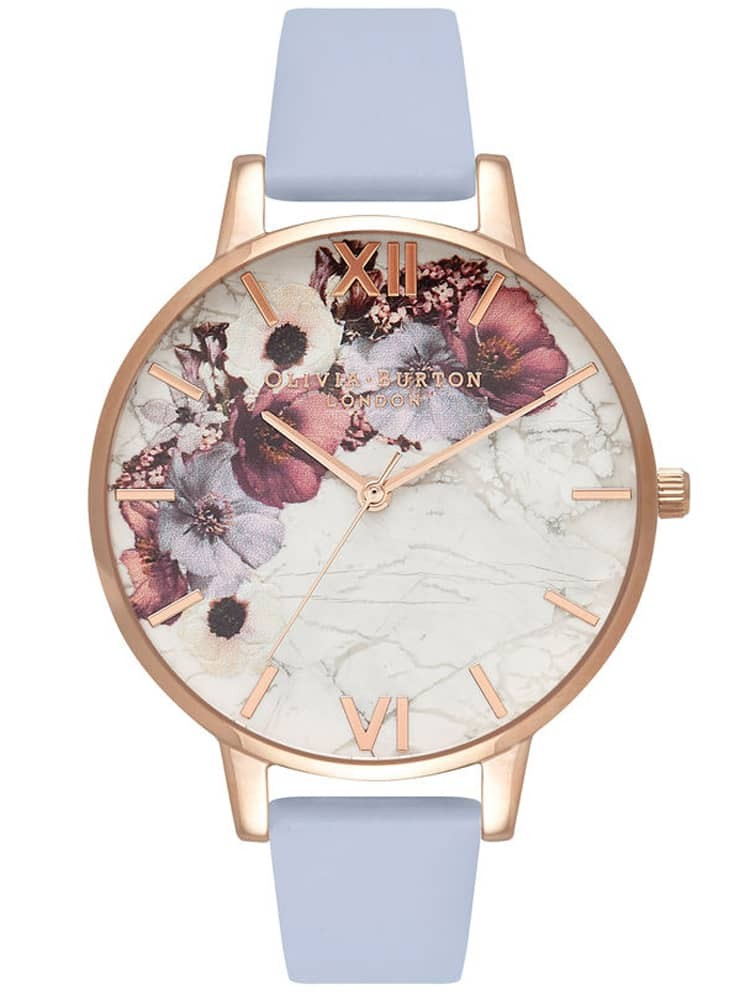Olivia Burton Marble Florals Rose Gold Plated Chalk Blue Leather Strap Watch
