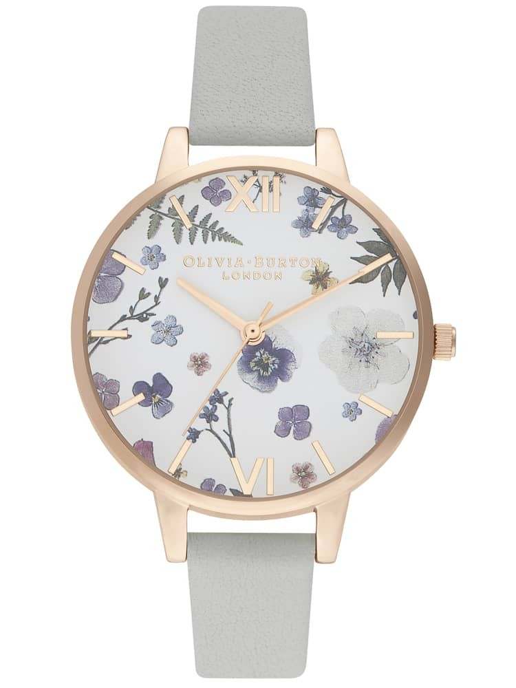 Olivia Burton Artisan Pale Rose Gold Plated White Dial Grey Leather Strap Watch