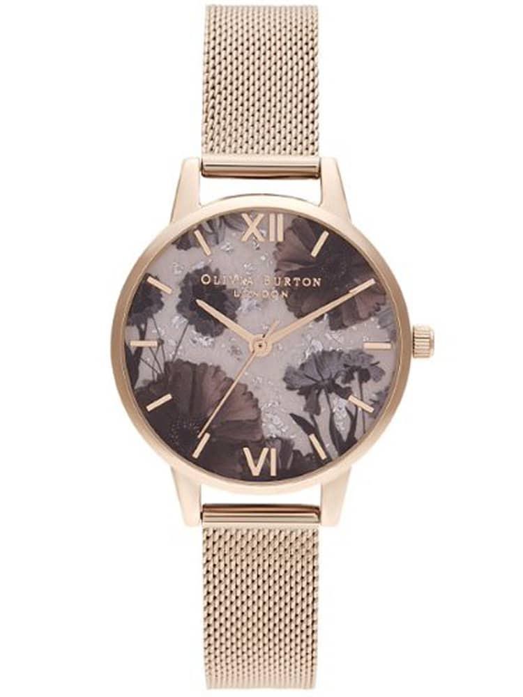 Olivia Burton Celestial Rose Quartz Dial Pale Rose Gold Mesh Strap Watch