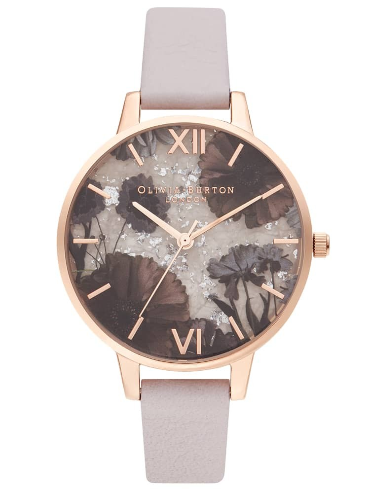 Olivia Burton Celestial Rose Gold Plated Rose Quartz Dial Pearl Pink Leather Strap Watch