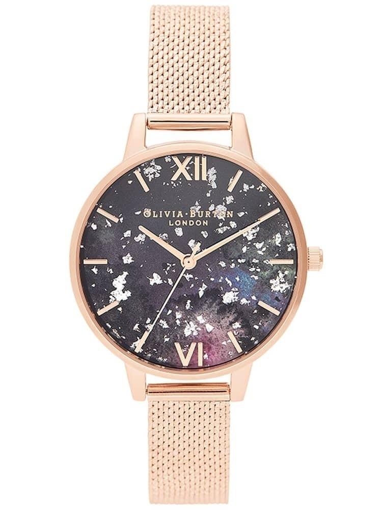 Olivia Burton Celestial Rose Gold Boucle Mesh Strap Watch