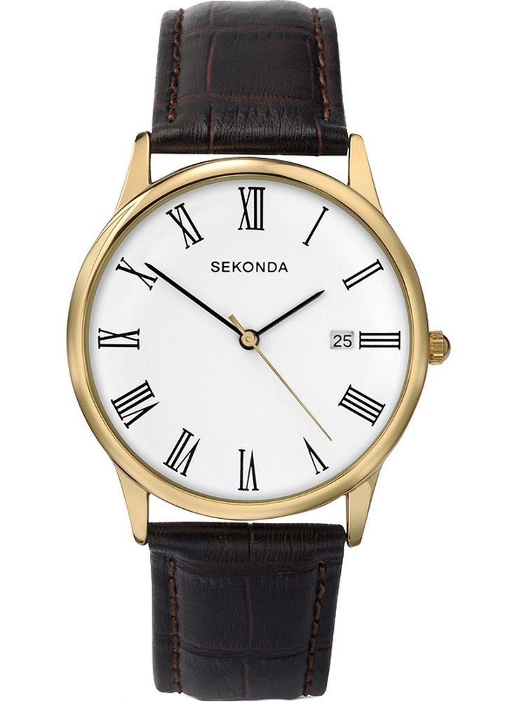 Sekonda Mens Brown Strap Watch
