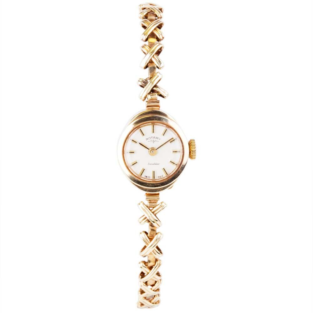Pre Owned RotaryPre 9ct Gold Ladies Rotary Incabloc Mechanical Watch 4118003