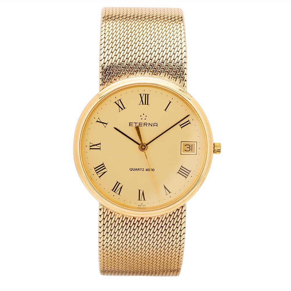 Pre-Owned Eterna 9ct Yellow Gold Mesh Watch
