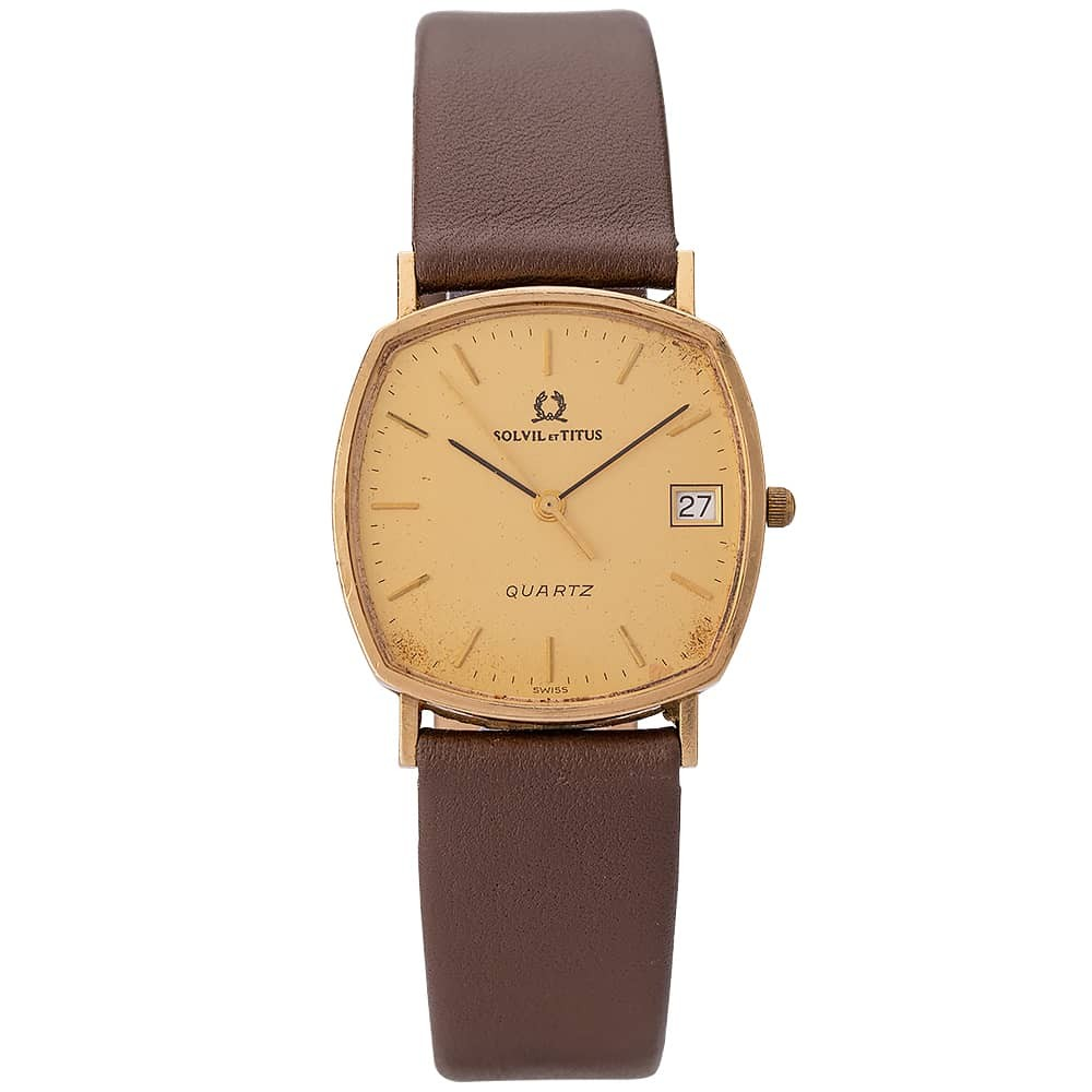 Pre-Owned Solvil Et Titus 9ct Yellow Gold Brown Leather Strap Watch