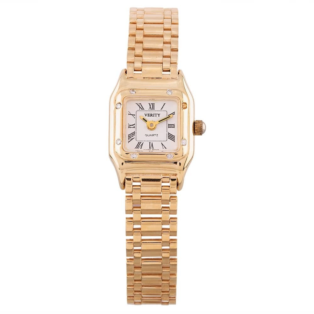 Pre-Owned Verity Gold Plated Diamond Bracelet Watch