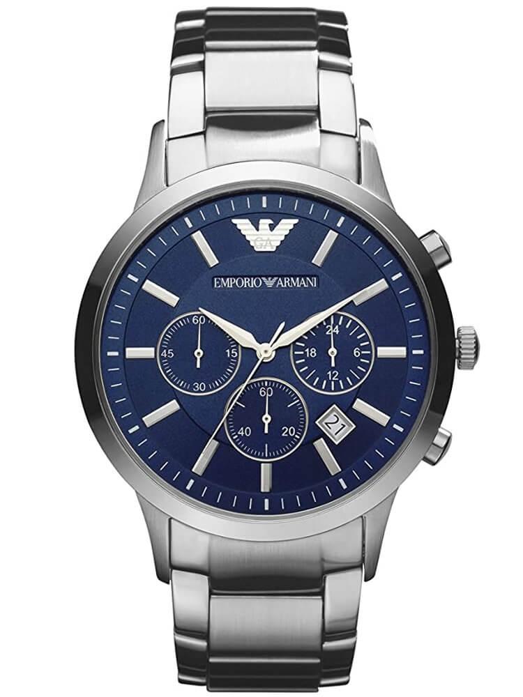 Emporio Armani Mens Silver Chronograph Watch