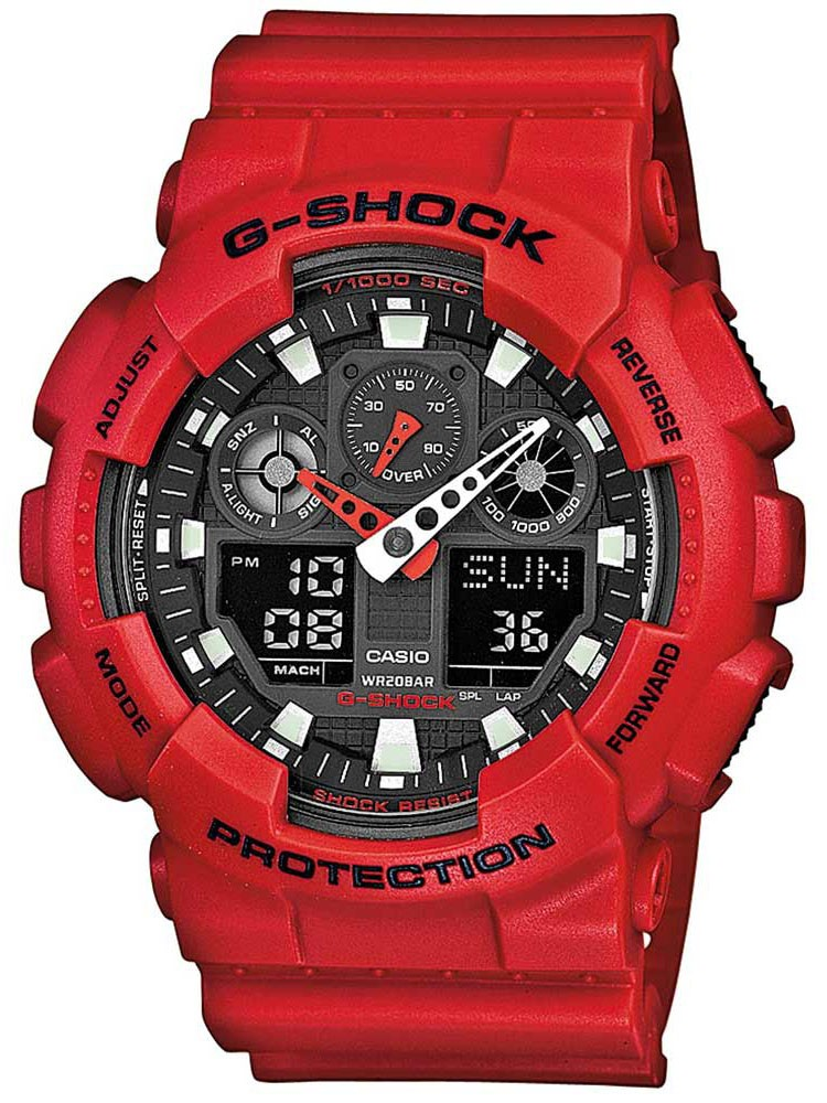 Casio G-Shock Classic Dual Display Red Plastic Strap Watch