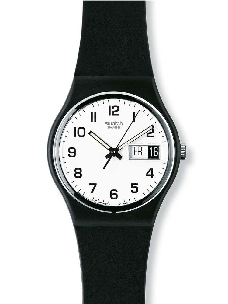 Swatch Gents Black Rubber Strap Once Again Watch