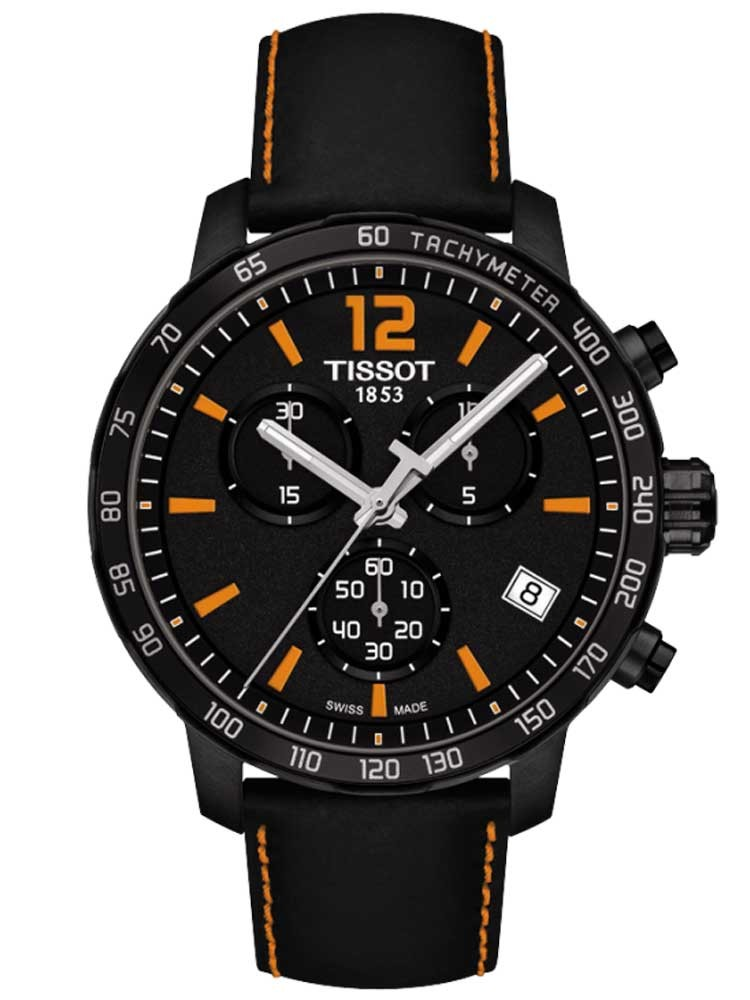 Tissot Mens T-Sport Quickster Black Leather Strap Watch
