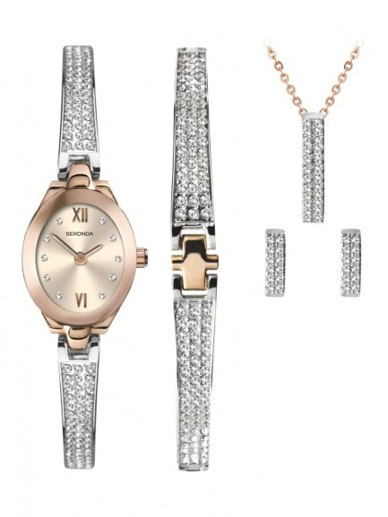 Sekonda Ladies Crystal Rose Gift Set