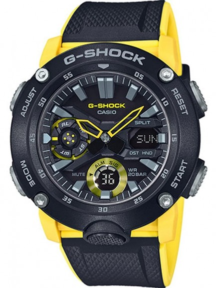 Casio G-Shock Classic Carbon Dual Display Yellow Plastic Strap Watch