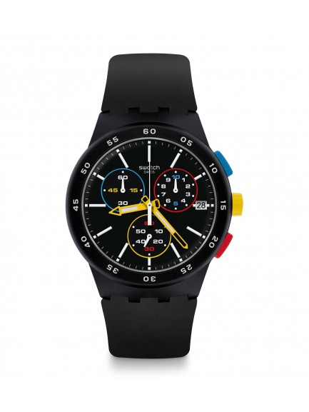 Swatch Unisex Black-One Chronograpgh Black Rubber Strap Watch