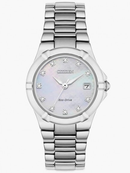 Citizen Ladies Eco-Drive Mother of Pearl & Diamond Dial Bracelet Watch