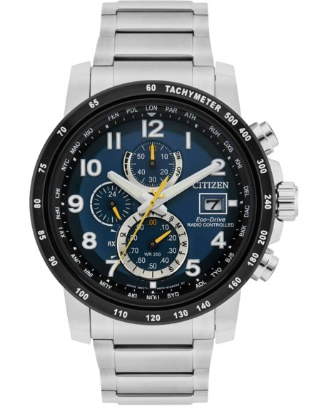 Citizen Mens World Radio Controlled Blue Chronograph Dial Stainless Steel Bracelet Watch