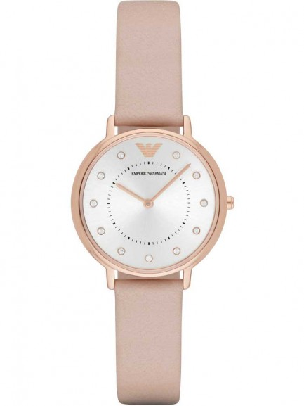 Emporio Armani Ladies Rose Gold Plated Strap Watch