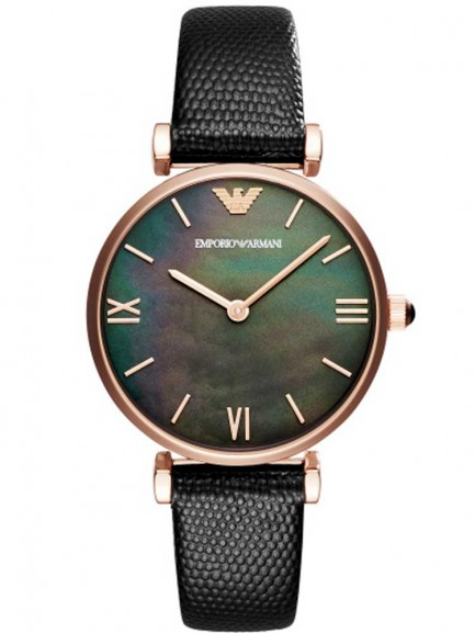 Emporio Armani Ladies Rose Gold-Plated Strap Watch