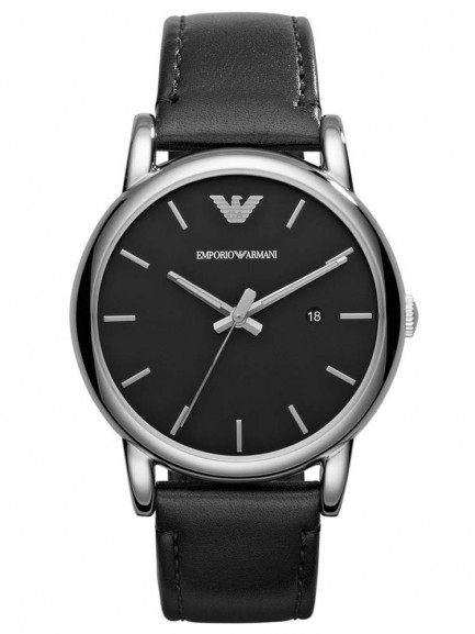 Emporio Armani Gents Stainless Steel Round Black Dial Black Leather Strap Watch
