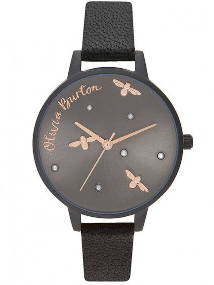 Olivia Burton Pearly Queen Rose Gold and Matte Black Leather Strap Watch
