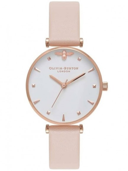 Olivia Burton Queen Bee Rose Gold Nude Peach Leather Strap Watch
