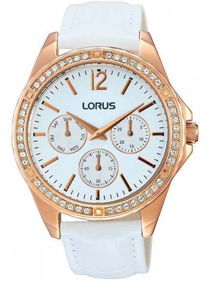 Lorus Ladies White Crystal Set Dial White Leather Strap Dress Watch