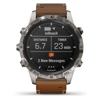 Garmin MARQ Adventurer Titanium Brown Leather Strap Smartwatch 010-02006-27