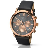 Sekonda Mens Rose Gold Tone Chronograph Black Leather Strap Watch 1207