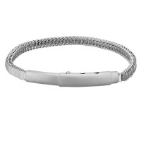 Bourne and Wilde Mens Stainless Steel 21-23cm Adjustable Crescent Snake Bracelet STBTH001