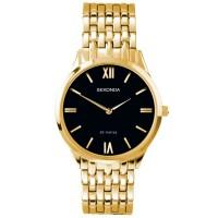 Sekonda Mens Black Dial Gold Tone Bracelet Watch 1611
