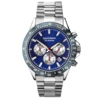 Sekonda Mens Classic Chronograph Blue Dial Stainless Steel Bracelet Watch 1649