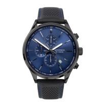 Sekonda Mens Classic Chronograph Blue Sunray Dial Black Leather Strap Watch 1773