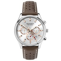 Sekonda Mens Classic Chronograph Silver Dial Brown Leather Strap Watch 1784