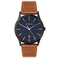 Sekonda Mens Classic Navy Blue Dial Light Brown Leather Strap Watch 1514