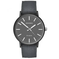 Sekonda Mens Casual Grey Dial Dark Grey and Blue Reversible Nylon Strap Watch 1493