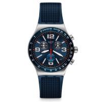 Swatch Blue Grid Chronograph Blue Rubber Strap Watch YVS454
