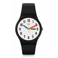 Swatch Unisex Elementary Black Rubber Strap Watch SUOB728