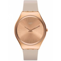 Swatch Skinrosee Rose Gold Plated Pink Rubber Strap Watch SYXG101