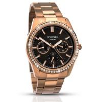 Sekonda Ladies Rose Gold Tone Day Date Crystal Bracelet Watch 2158