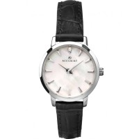 Accurist Ladies Mother Of Pearl Black Strap Watch 8228
