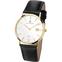 Accurist Mens 9ct Gold White Dial Black Leather Strap Watch 7801