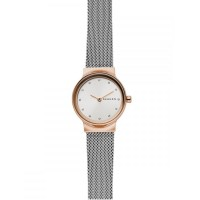 Skagen Ladies Freja Two Colour Rose Gold Plated Mesh Bracelet Watch SKW2716