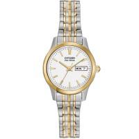Citizen Ladies Eco-Drive White Dial Two Tone Bracelet Watch EW3154-90A