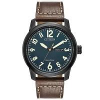 Citizen Mens Chandler Military Brown Leather Strap Watch BM8478-01L