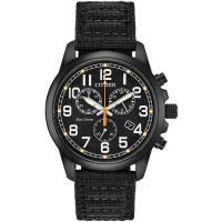 Citizen Eco-Drive Military Black Fabric Strap Watch AT0205-01E